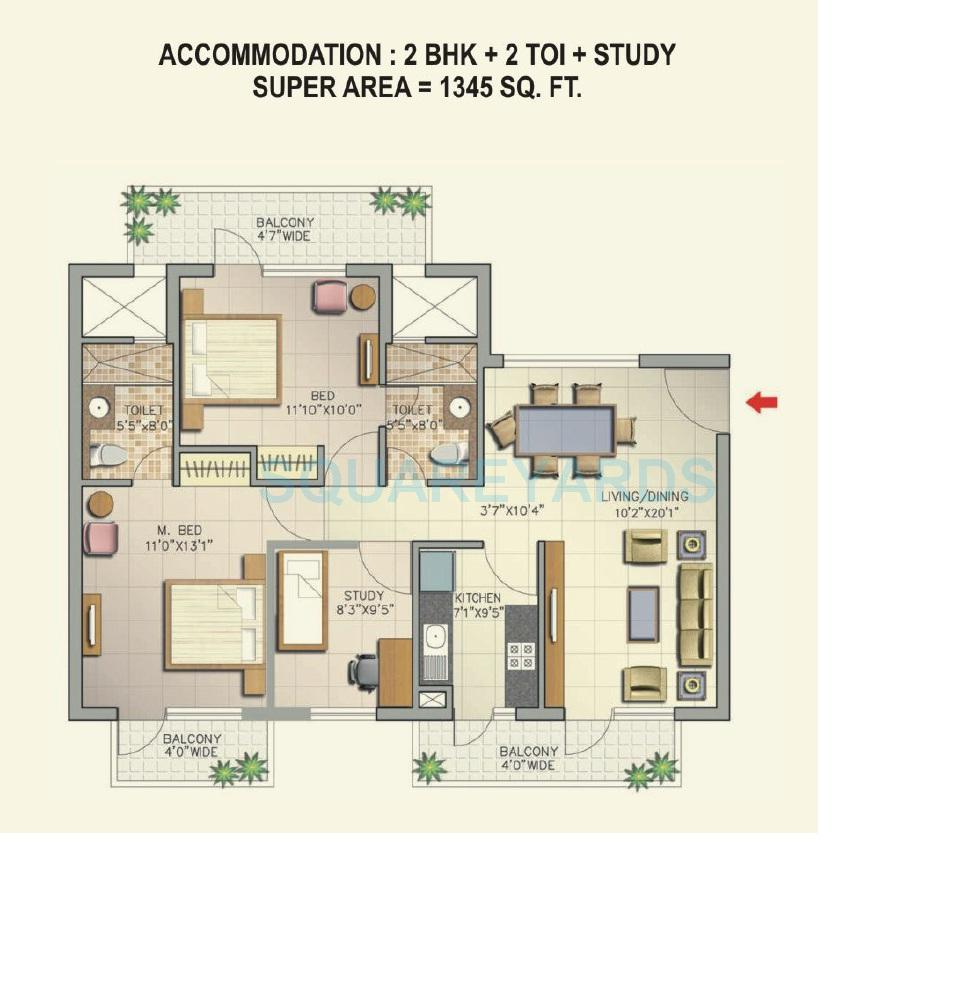 2 BHK 1345 Sq. Ft. Apartment Floor Plan