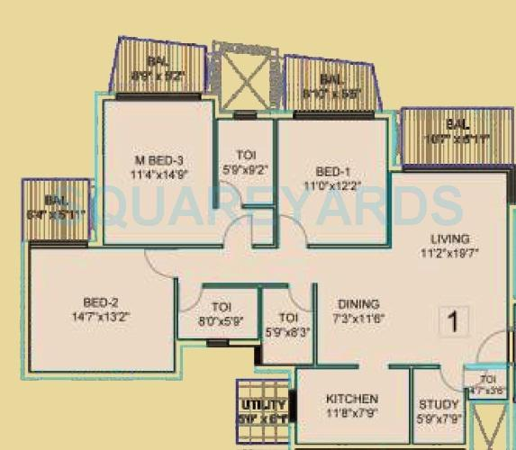 dhoot time residency apartment 3bhk 1717sqft 1