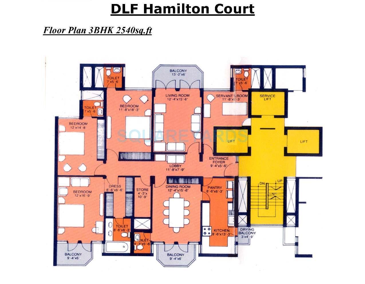 dlf hamilton court apartment 3bhk sq 2540sqft 1