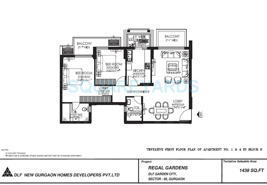 dlf regal gardens apartment 2bhk 1438sqft 1