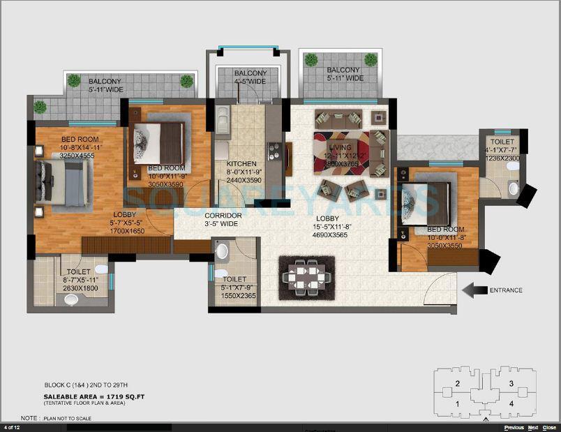 dlf regal gardens apartment 3bhk 1719sqft 1