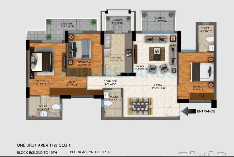 dlf regal gardens apartment 3bhk 1720sqft 1