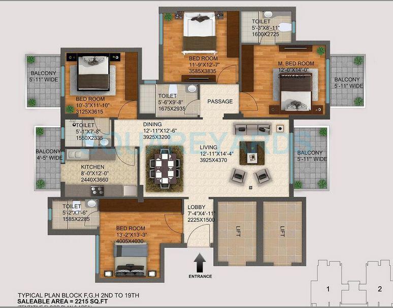dlf regal gardens apartment 4bhk 2215sqft 1