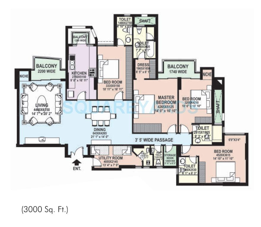 Apartment floor plans 3000 sq ft for House plans 3000 to 4000 square feet