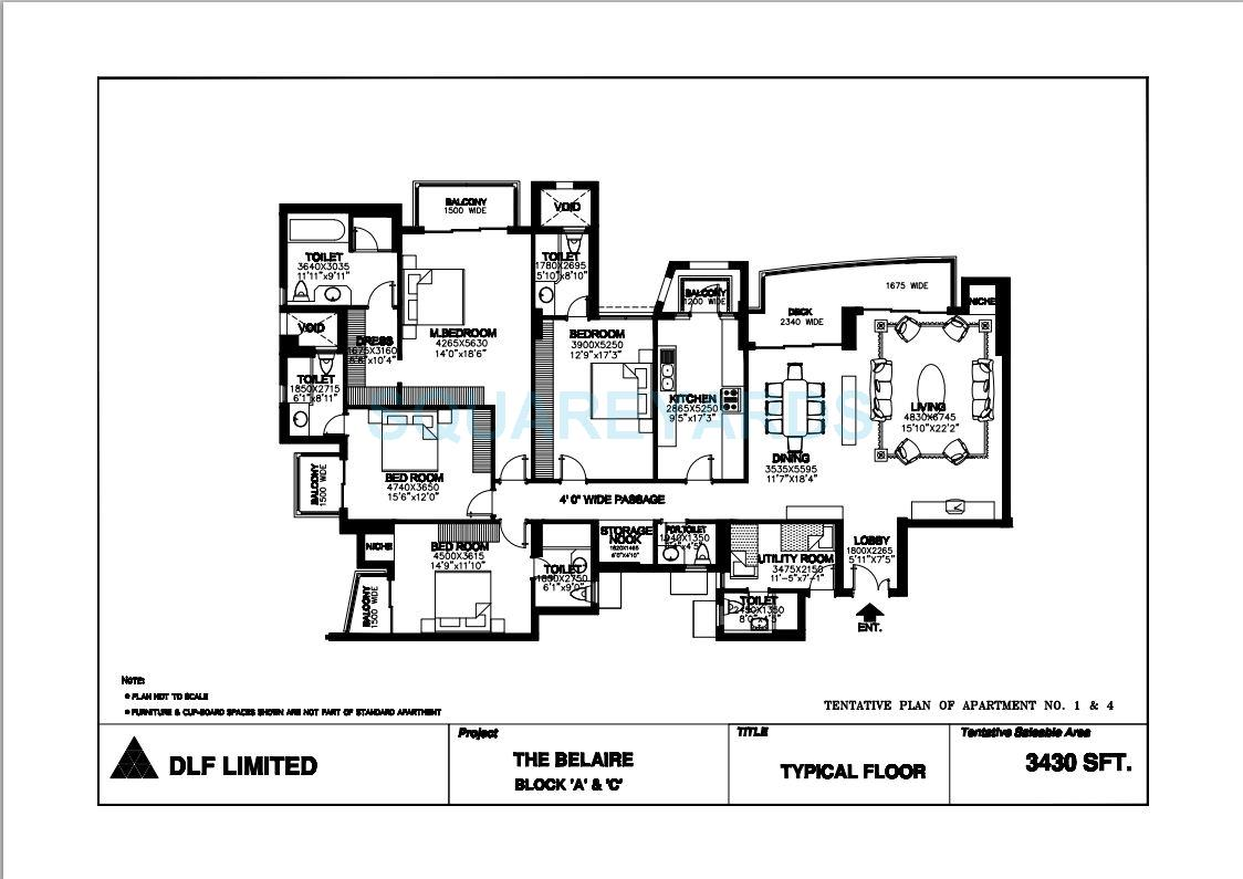 dlf the belaire apartment 4bhk 4072sqft 1