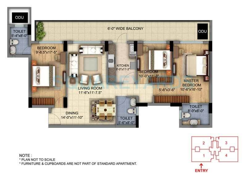 dlf the skycourt apartment 3bhk 1897sqft 1