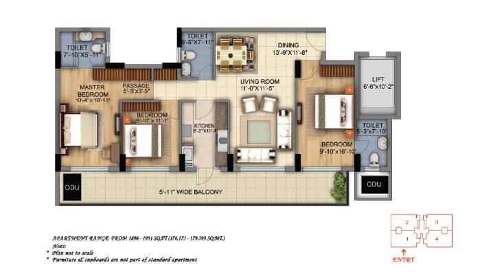 dlf the skycourt apartment 3bhk 1929sqft 1