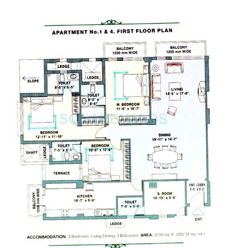 Image For 3 Bhk Floor Plans Of Dlf Trinity Towers In Dlf Phase V Gurgaon