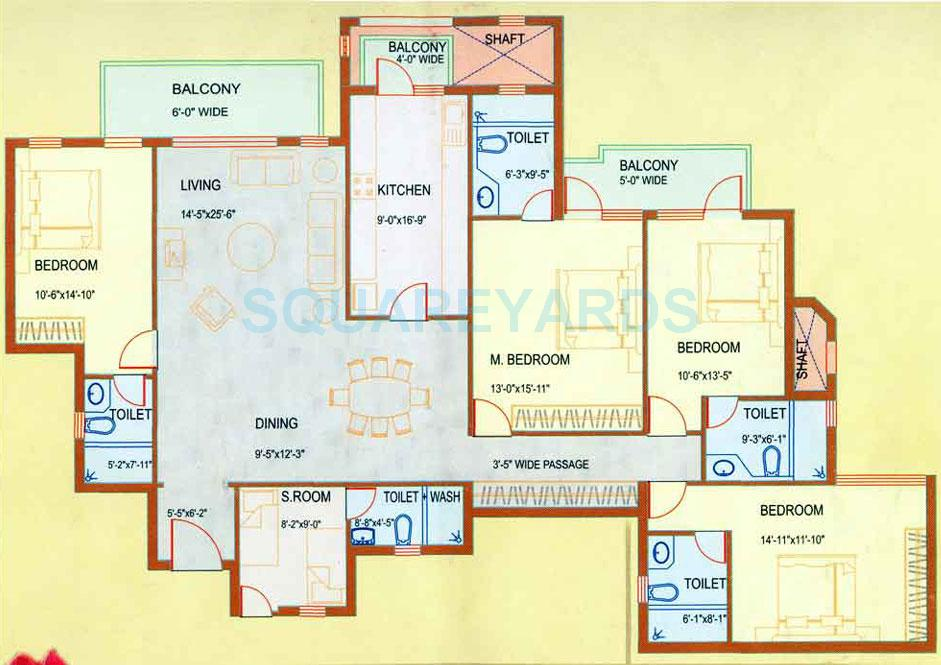 Dlf westend heights in sector 53 gurgaon project for Apartment floor plans 2500 sq ft