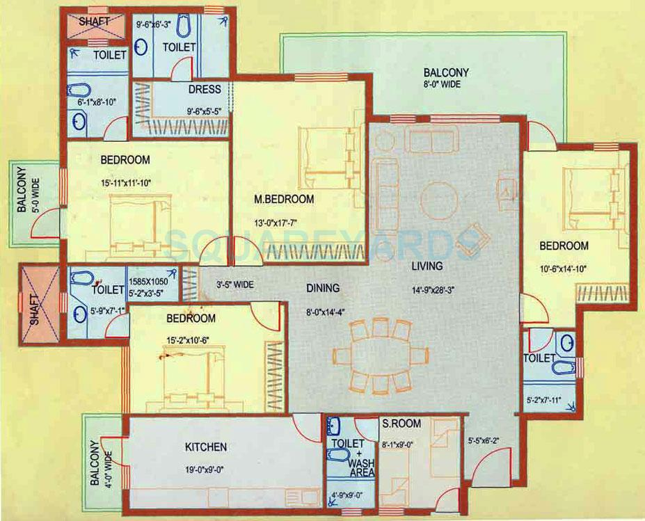 4 Bhk 2700 Sq Ft Apartment For Sale In Dlf Westend Heights Gurgaon