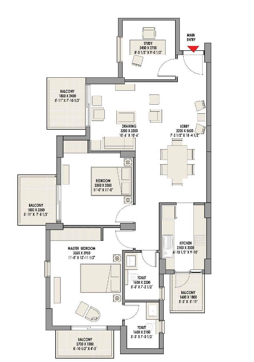 eldeco acclaim apartment 2bhk st 1457sqft 1