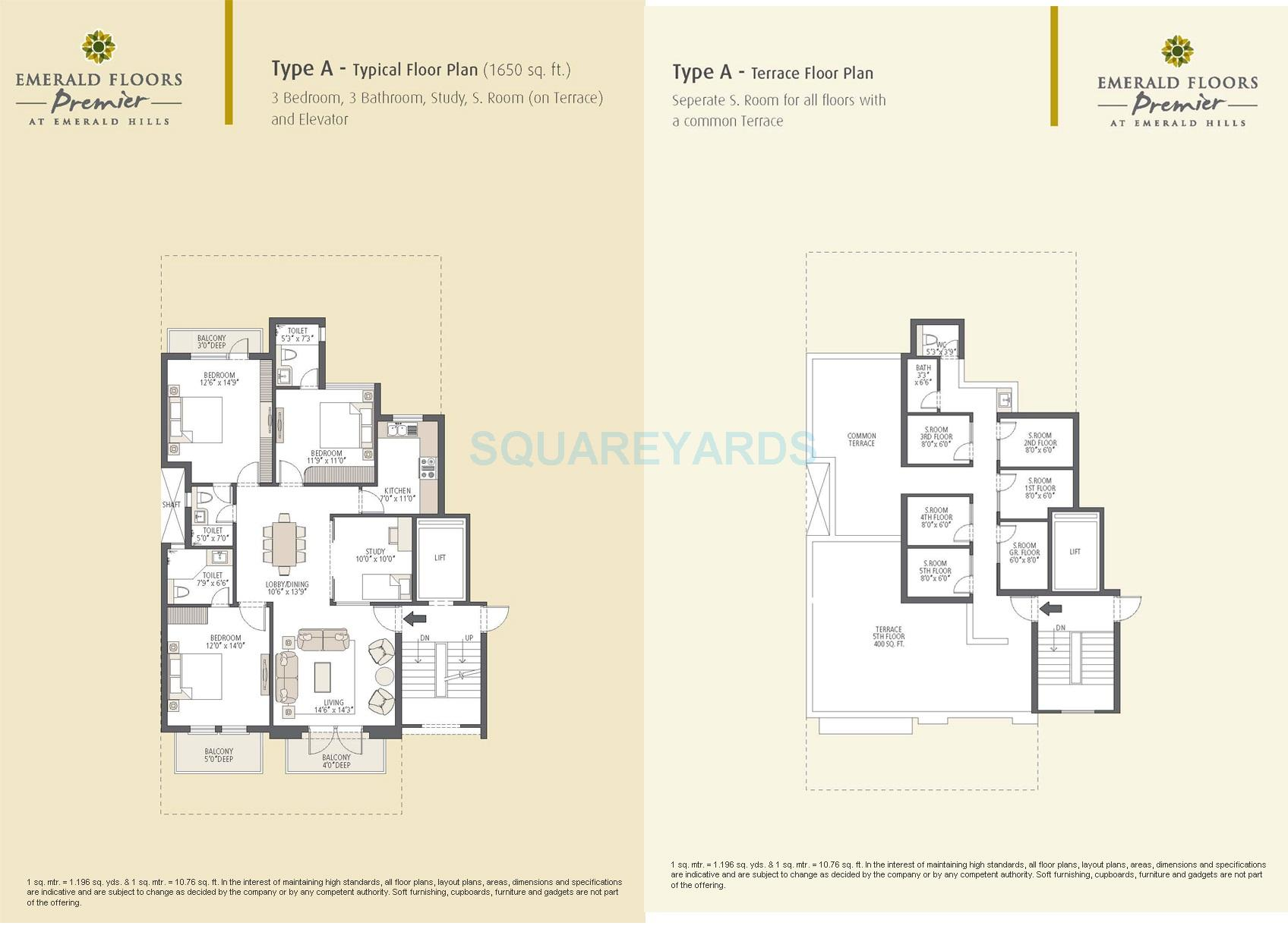 emaar mgf emerald floors premier builder floor 5th terrc 3bhk typea 1650sqft 1