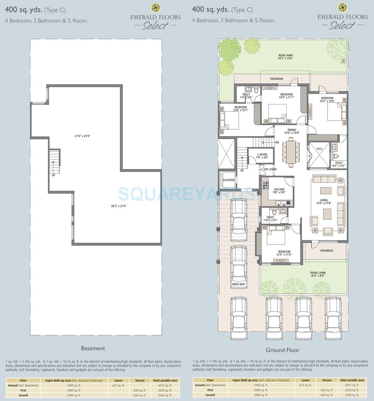 emaar mgf emerald floors select independent floor 4bhk sq 3400sqft 1