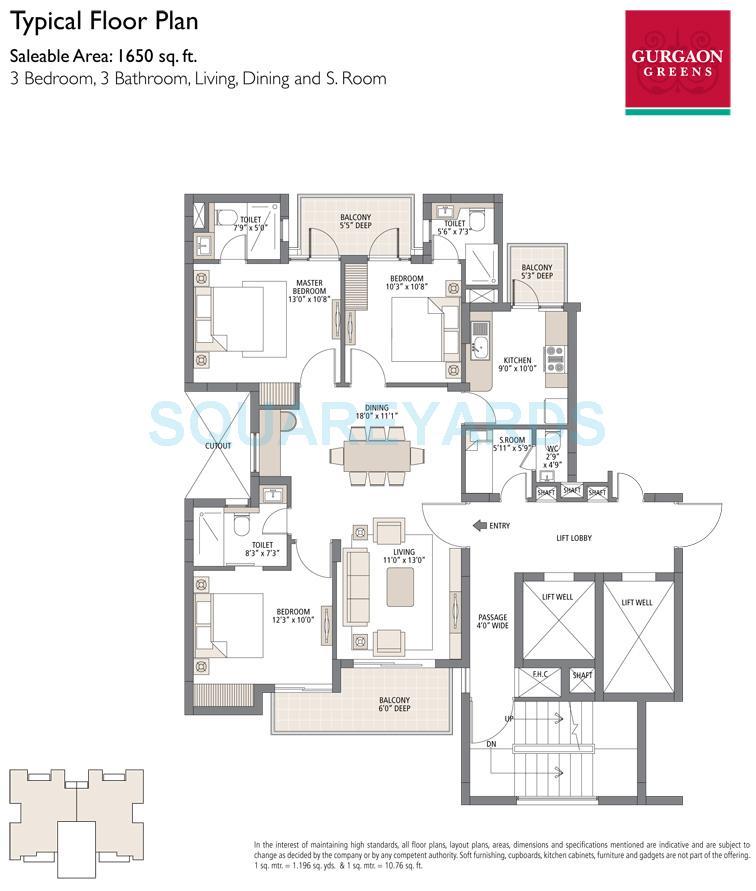 emaar mgf gurgaon greens apartment typical floor 3bhk 1650sqft 1