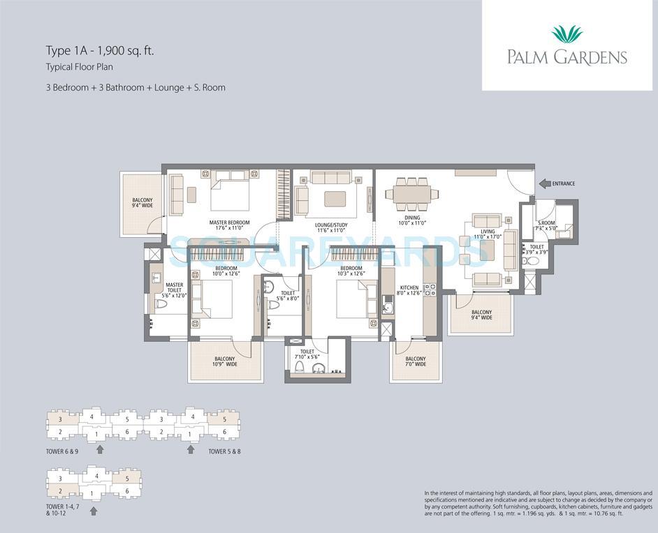 emaar mgf palm gardens apartment 3bhk 3bathroom lounge sq 1900sqft 1