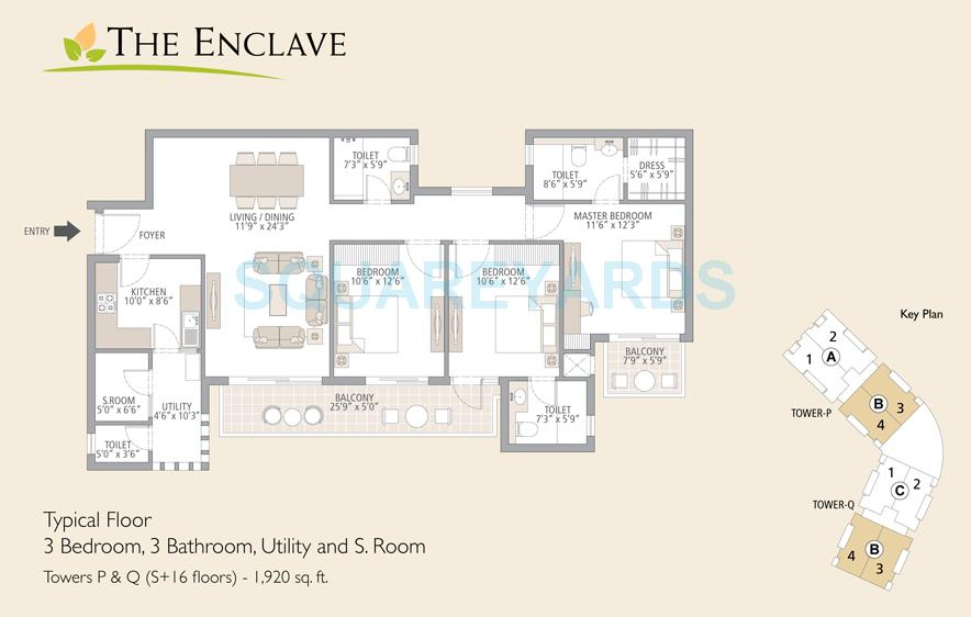 emaar mgf the enclave apartment 3bedroom 3bathroom utility and s room 1920sqft 1