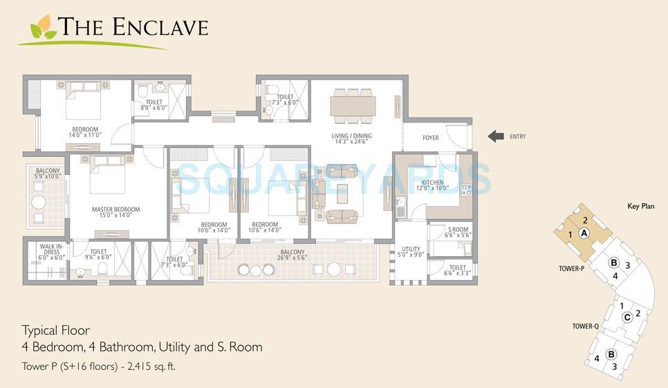 emaar mgf the enclave apartment 4beedroom 4bathroom utility and sroom 2415sqft 1