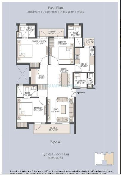 3 Bhk 1450 Sq Ft Apartment For Sale In Emaar Palm Hills At Rs 85 00 L Gurgaon