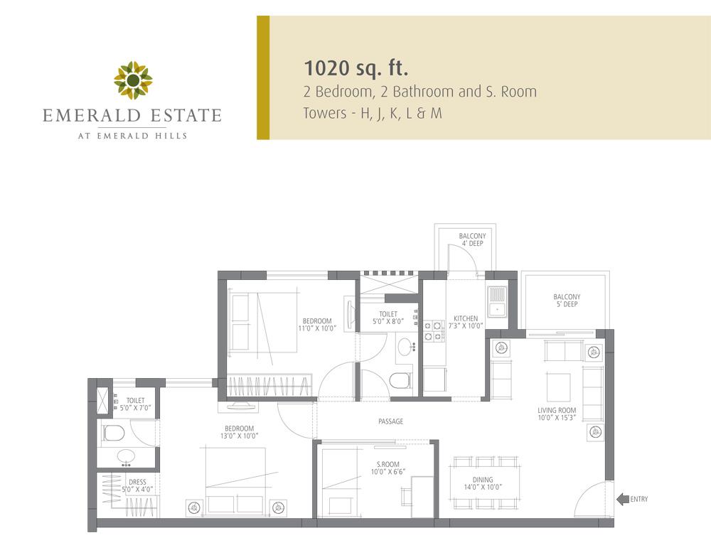 2 BHK 1020 Sq. Ft. Apartment Floor Plan