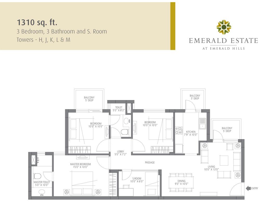 emmar mgf emerald estate apartment 3bhk 1280sqft 1