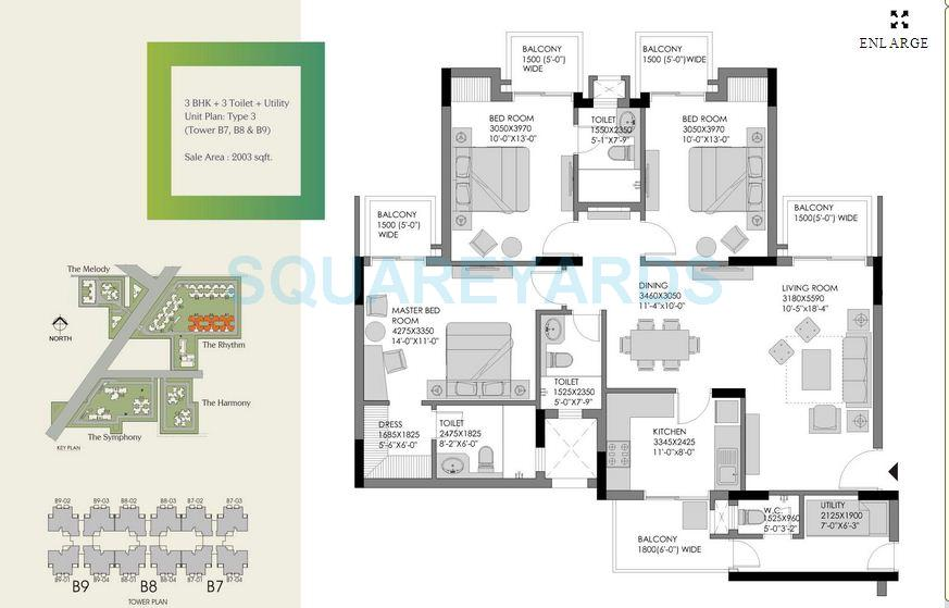 experion the heart song apartment 3bhk sq 2003sqft 1