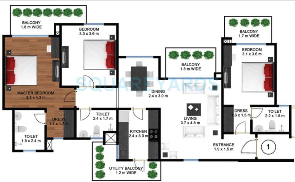 godrej frontier apartment 3bhk 1928sqft 1