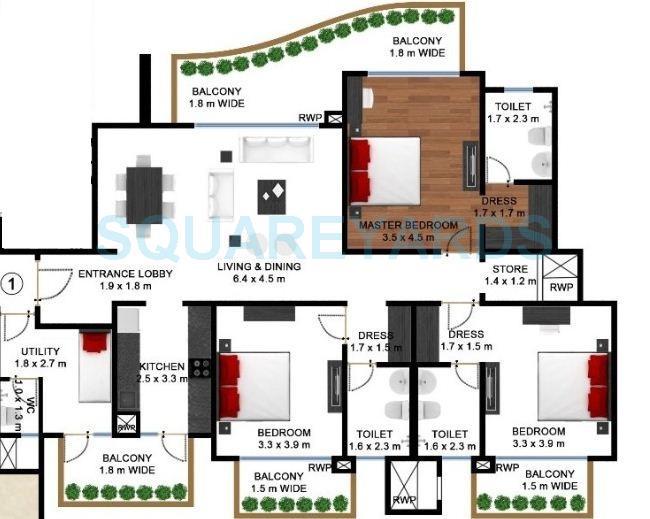 godrej frontier apartment 3bhk sq 2263sqft 1
