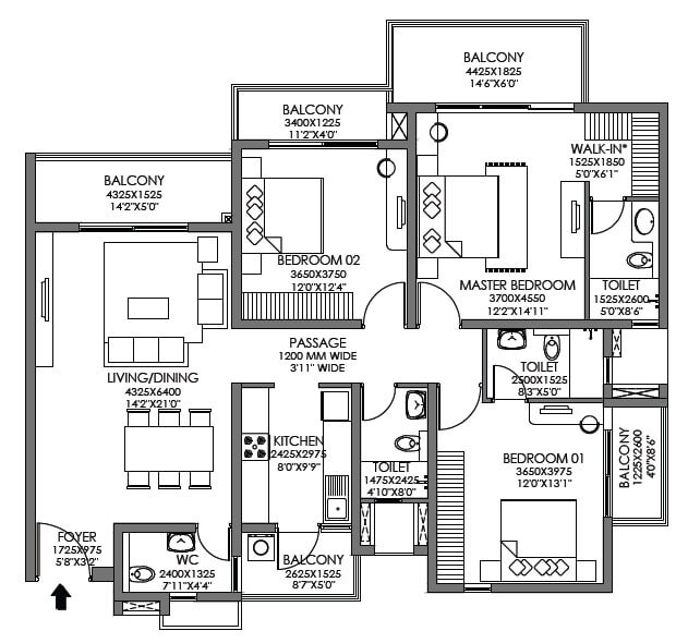 godrej habitat apartment 3bhk 1255sqft 1