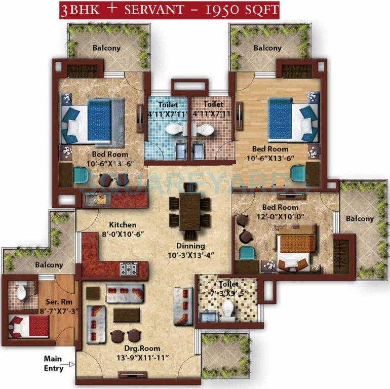 gold souk golf links apartment 3bhk sq 1950sqft 1