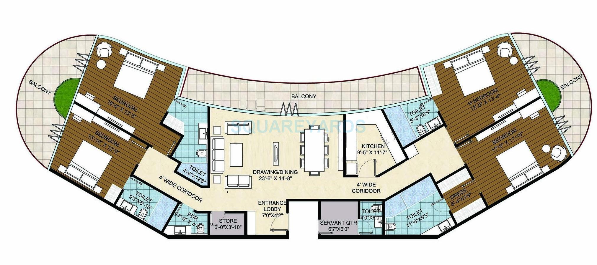 homestead maria sharapova tower apartment 4bhk sq 4t 3650sqft 1