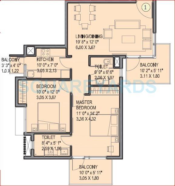ireo uptown apartment 2bhk 1132sqft 1