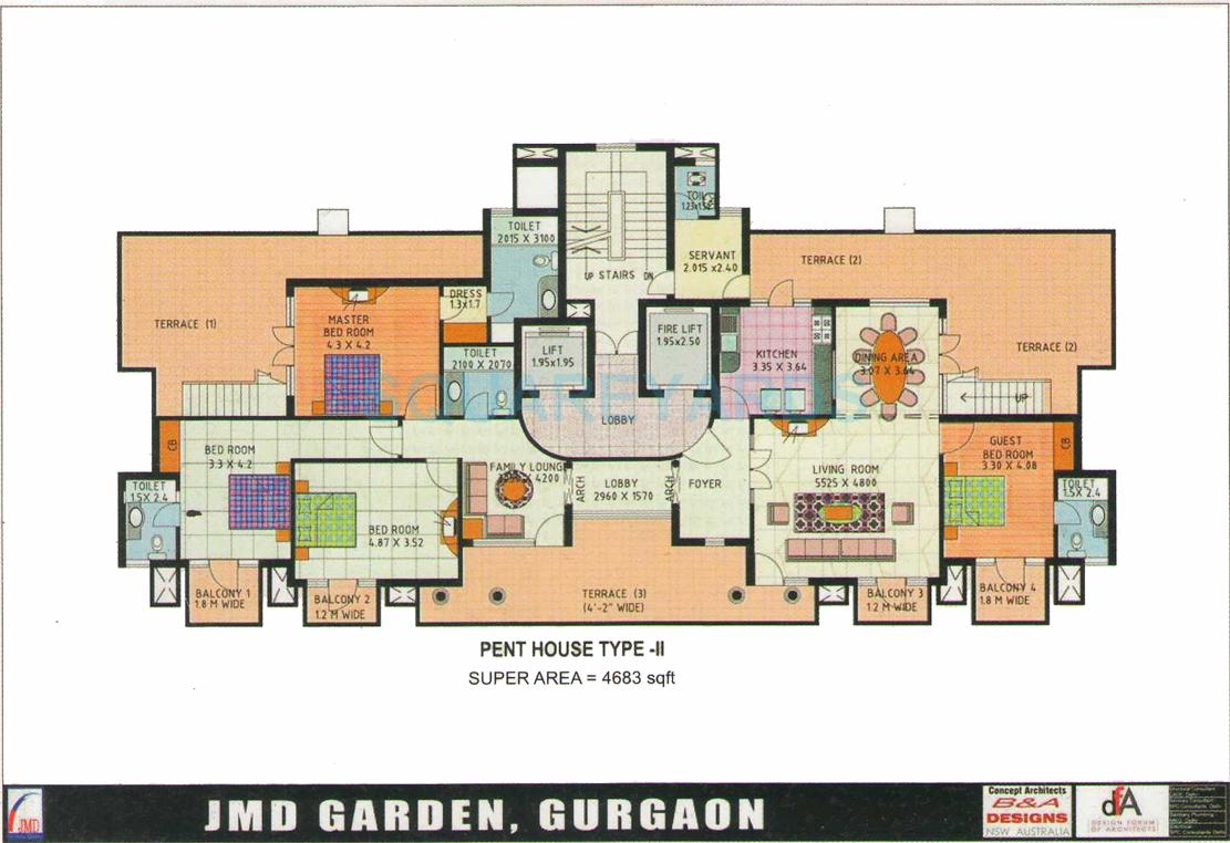 4 BHK 4683 Sq. Ft. Penthouse for Sale in JMD Gardens at Rs 6750.0/Sq ...