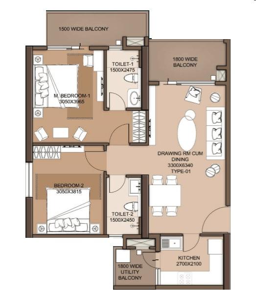 m3m flora 68 apartment 2 bhk 1274sqft 20215905125923