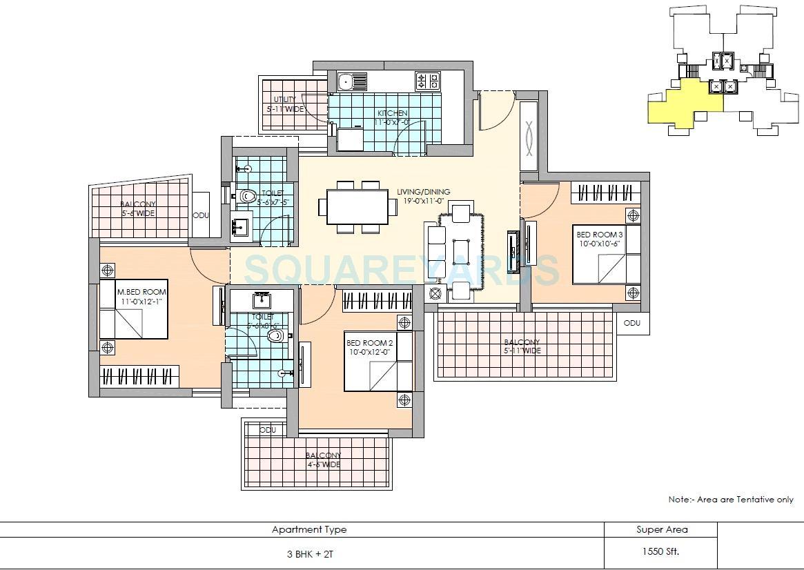m3m marina apartment 3bhk 1550sqft 1