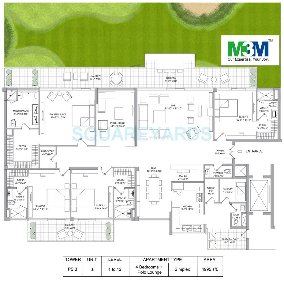 m3m polo suites apartment 4bhk polo lounge 4995sqft 2