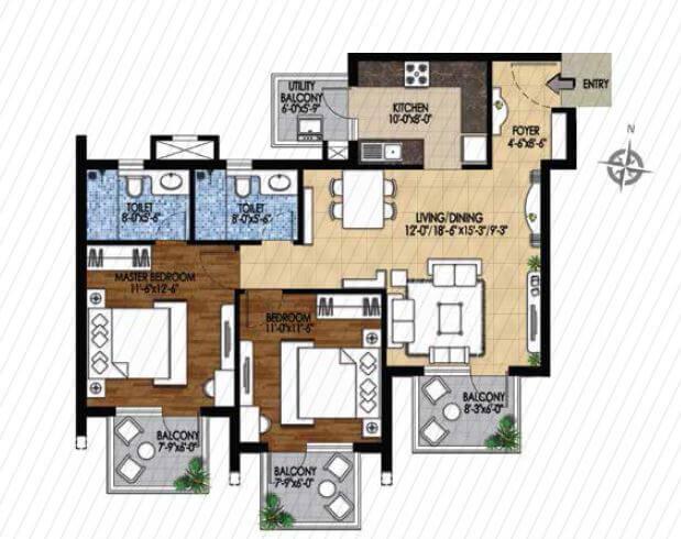 m3m woodshire apartment 2bhk 1366sqft 1