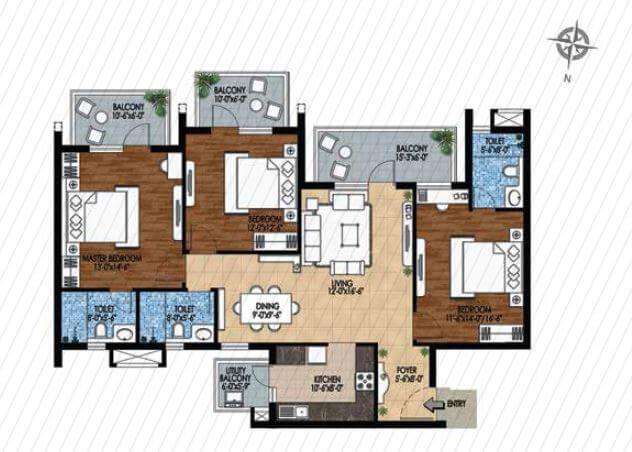 m3m woodshire apartment 3bhk 1943sqft 1