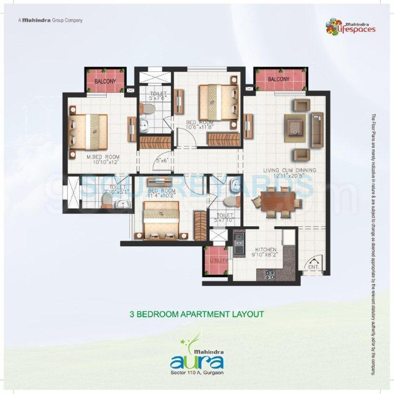 mahindra aura apartment 3bhk 1350sqft 1