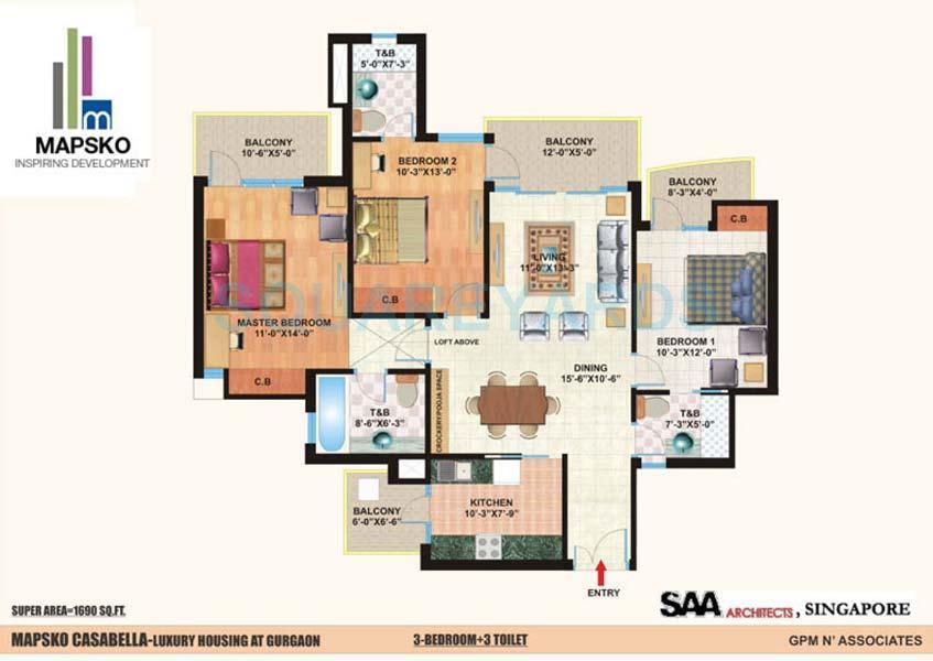 mapsko casa bella apartments apartment 3bhk 3toilet 1690sqft 1