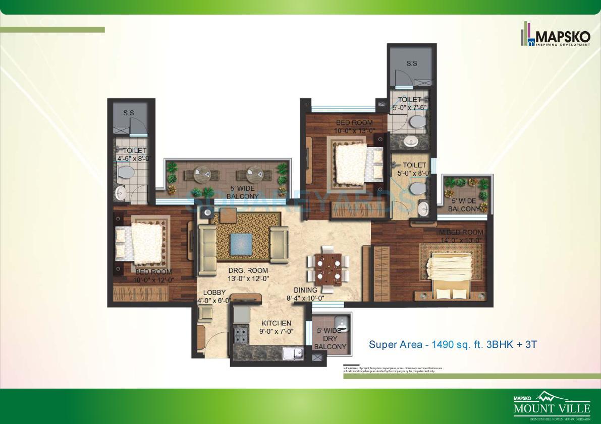 mapsko mount ville apartment 3bhk 1490sqft 1