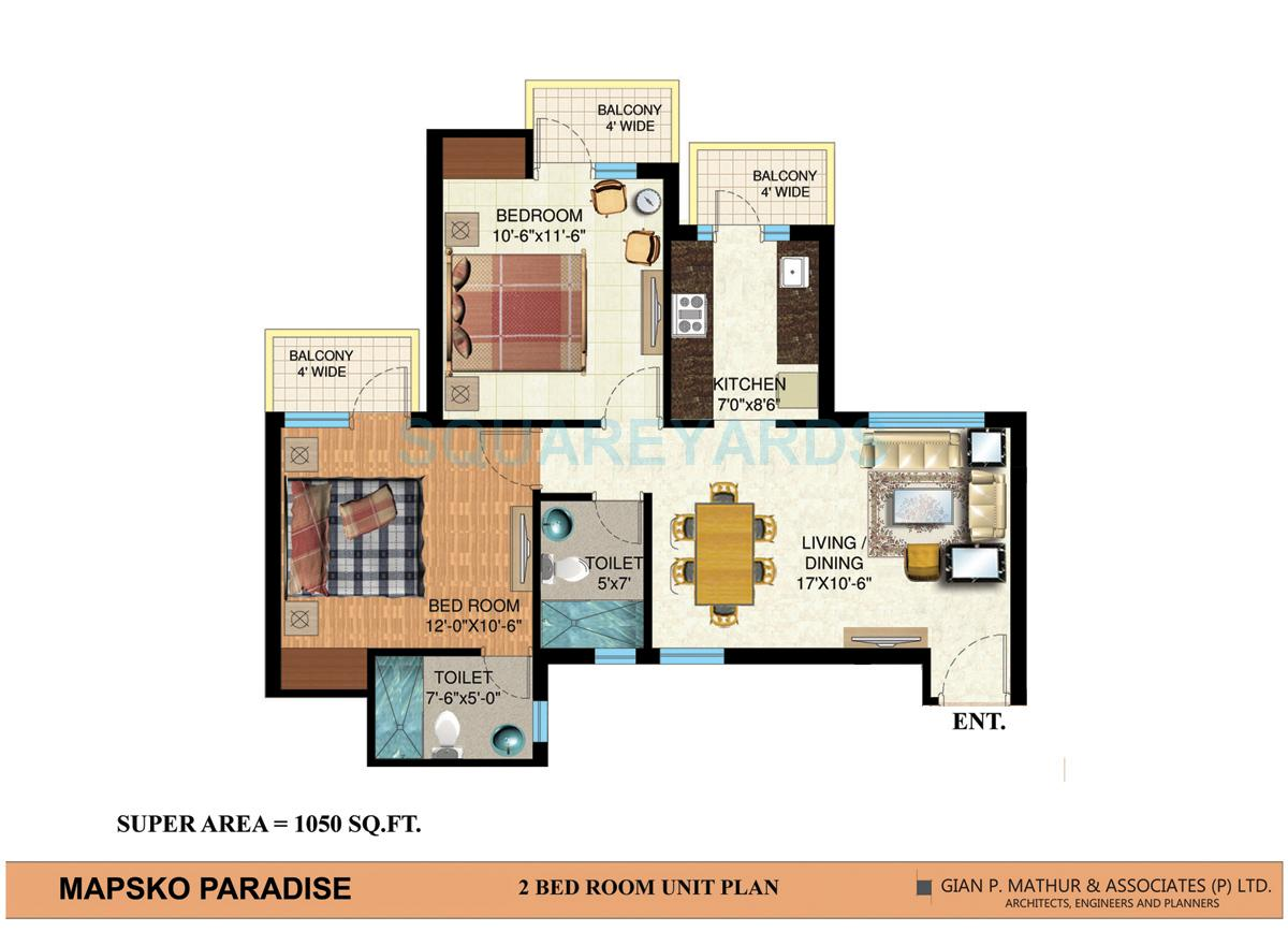 mapsko paradise apartment 2bhk 1050sqft 1
