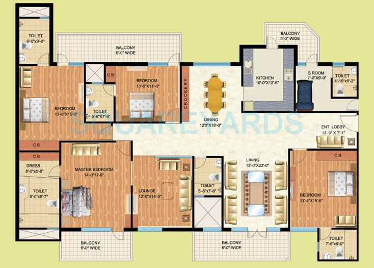 mapsko royale ville apartment 4bhk lounge sq 3500sqft 1