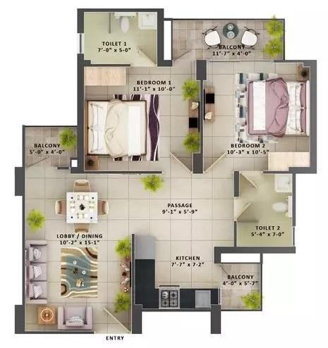 mrg the meridian apartment 2bhk 574sqft11