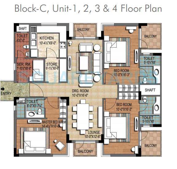 ninex city apartment 3bhk block c 1952sqft 1