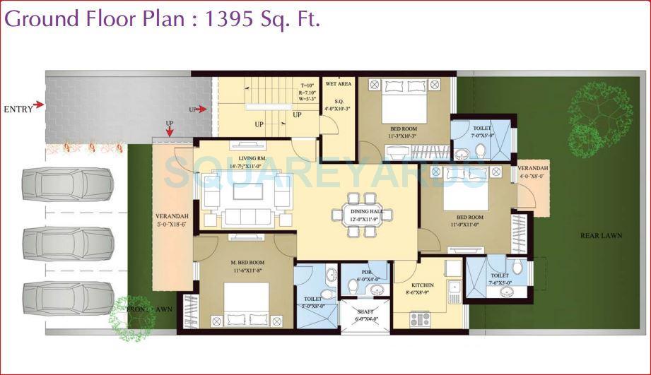 orchid island builder floor 3bhk gf 1395sqft 1