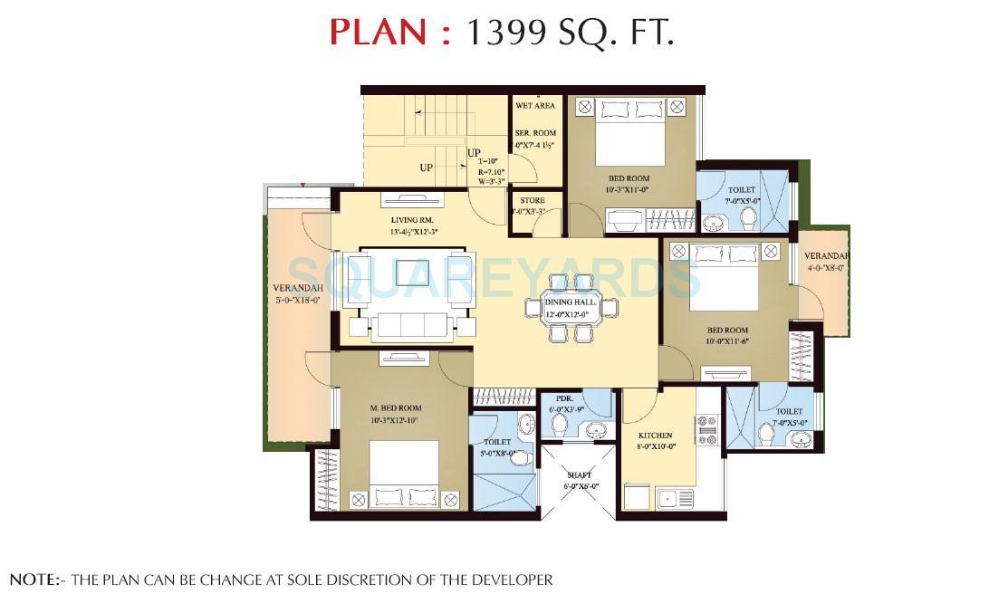orchid island builder floor 3bhk typical floor 1399sqft 1