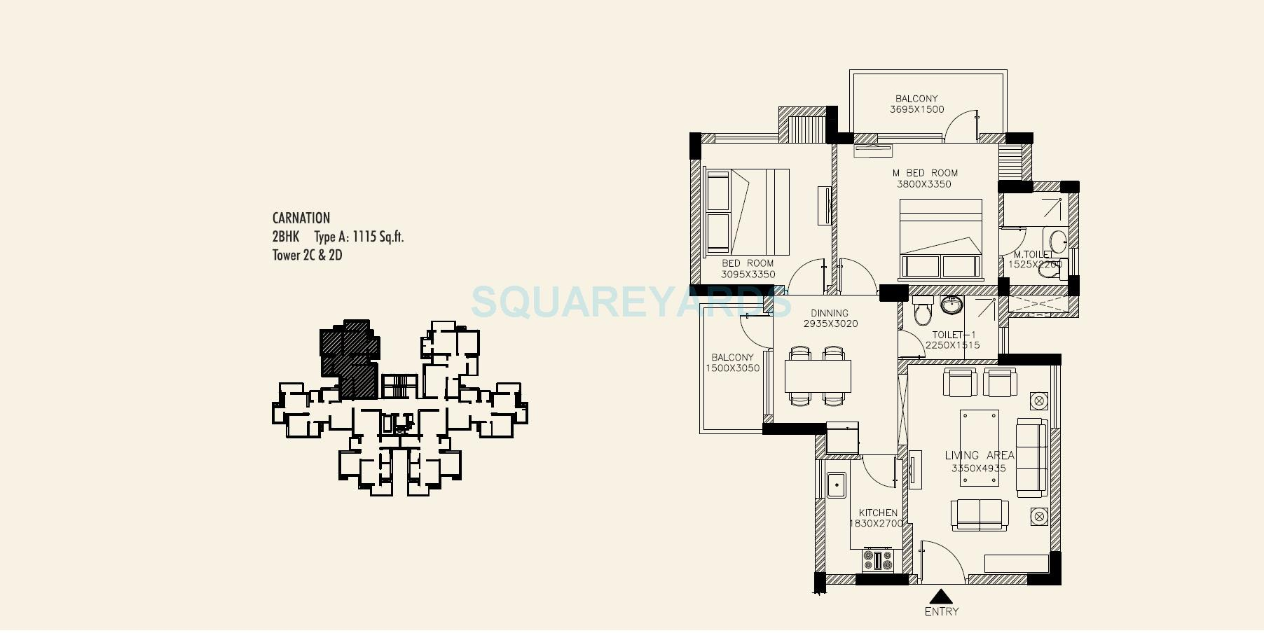 orris carnation residency apartment 2bhk 1115sqft type a 1