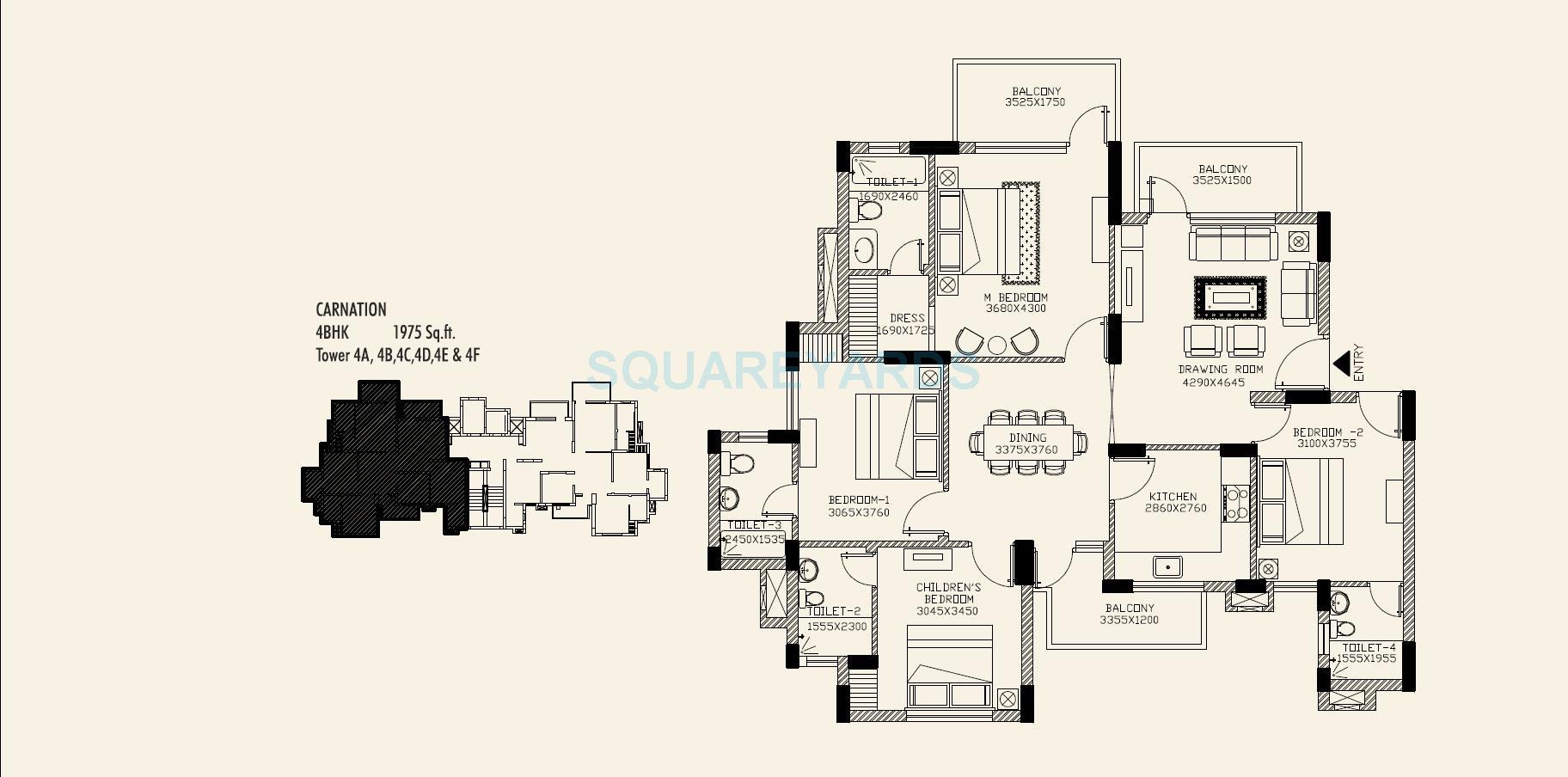 orris carnation residency apartment 4bhk 1975sqft 1