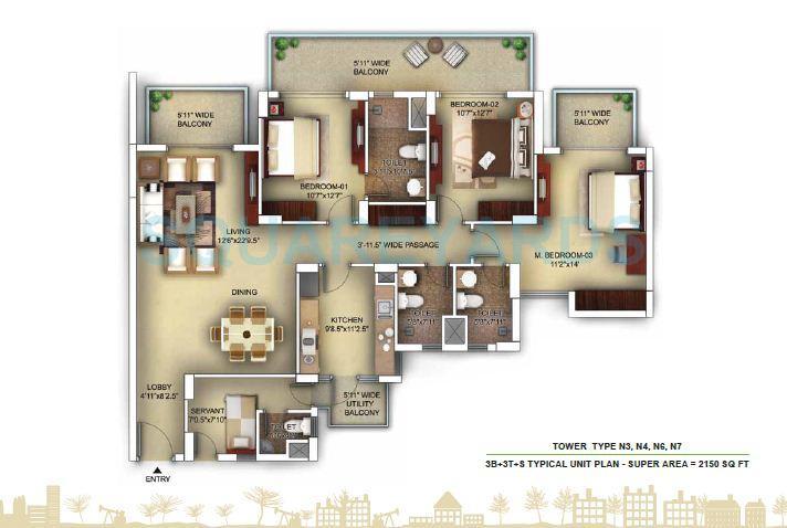 paras irene apartment 3bhk 3t sr 2150sqft 1