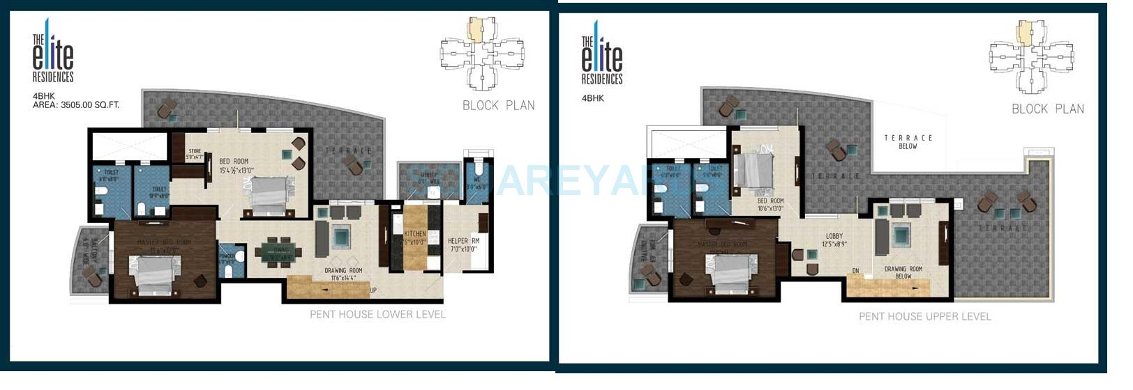 pareena the elite residences in sector 99 gurgaon project 4 bhk 3505 sq ft penthouse floor plan